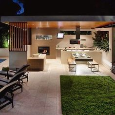 tbl connected to island Modern Outdoor Kitchen, Modern Backyard, Outdoor Rooms, Outdoor Living, Terrace Design, Backyard Patio Designs, Dream House Exterior, Pool Houses, New Homes
