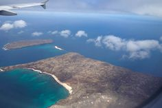 Islas Baltra and Seymour from the air, Galapagos Islands.