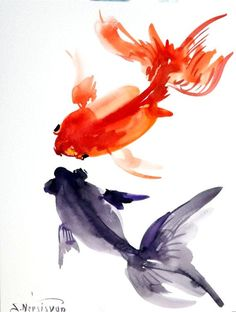 watercolor fish paintings | Goldfish original watercolor painting 12 X 9 in by ORIGINALONLY, $24 ...
