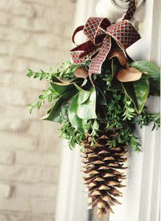Come up to Lake Arrowhead, find one of our big pine cones, and dress it up for a rustic Christmas Christmas Greenery, Christmas Swags, Outdoor Christmas Decorations, Christmas Love, Rustic Christmas, Winter Christmas, Xmas Crafts, Halloween, Lake Arrowhead