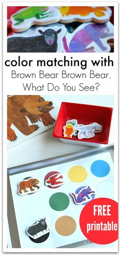 Color matching activity for Brown Bear Brown Bear What Do You See? This FREE printable color matching mat promotes storytelling and color recognition.