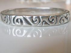 """SOLID Vintage Sterling Silver 925 Waves Scroll Clamp Bangle Bracelet 6.5"""" #Handmade #Statement"""