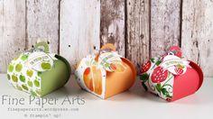 Stampin up - Curvy Keepsake boxes, Thinlits Zierschachtel für Andenken, DSP Obstgarten, Fruit Stand Designer Series Paper - Fine Paper Arts