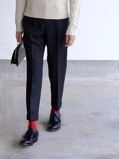 Socks with cropped trousers
