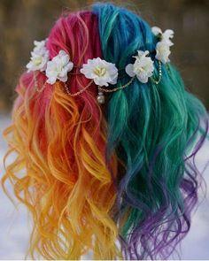 Cute Hair Colors, Pretty Hair Color, Hair Color Blue, Hair Dye Colors, Pelo Multicolor, Half And Half Hair, Pulp Riot Hair Color, Latest Hair Color, Unicorn Hair