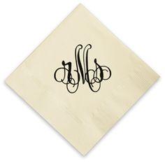 $28.95 Each - Large Foil Stamped Monogram Wedding Napkins