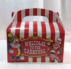 Big Top Treat Boxes 6 pack Circus Carnival Favor Boxes by MagicalTimesTogether on Etsy https://www.etsy.com/listing/184847629/big-top-treat-boxes-6-pack-circus