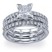 "Shiree Odiz  // ""Frosted Princess"" Unique Princess Cut Solitaire Engagement Ring   2 Band Bridal Set"