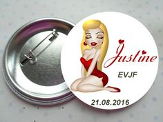 """Grand badge 56 mm collection """"glamour blonde EVJF"""" rouge, blanc, noir, mariage PERSONNALISABLE : Pins, badges par miss-coopecoll"""