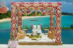 amazing pink and white floral mandap