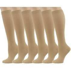 fff3ae533e 6 Pairs Knee High Graduated Compression Socks For Women and Men - Medical,  Nursing, Travel #SportsMedicine