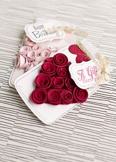Beautiful Rolled Rose Gift Tag: Tutorial to make the rolled rose is here: http://thepioneerwoman.com/homeandgarden/2011/06/paper-flowers/