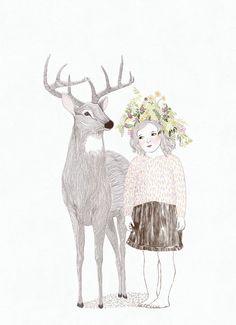illustration, little girl and deer