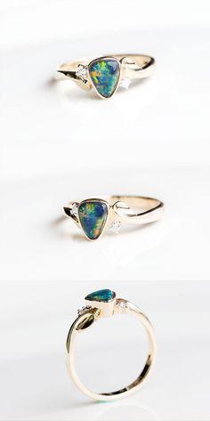 Australian Rainbow Doublet Black Opal Diamond Engagement Ring 14k Yellow Gold | eBay