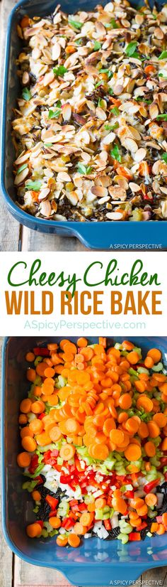Hearty Cheesy Chicken Wild Rice Casserole | ASpicyPerspective.com