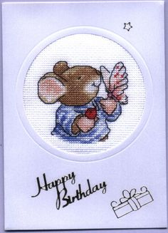birthday card made from a kit from World of Cross Stitch magazine