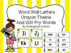 Here are some word wall letters that will go with your crayon theme classroom. The letters are trimmed with a yellow stripe border. There are crayon kids on the letters and crayons near the words. There is a blank word card page if you want to write more words.