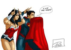 "DC Comics - Wonder Woman & Superman ""Do your best impression of Batman"" by jadenwithwings"