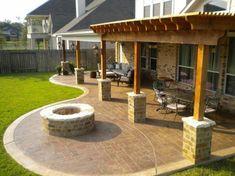 pergola patio moderne gartengestaltung ideen feuerstelle