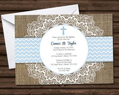 Beautifully custom printed design of burlap, lace doyle, and baby blue chevron, a perfect elegant way to announce your baby boy's first communion or baptism. Personalized with your baby's big day information, and sent quickly for your special day.