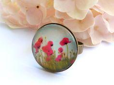 Edler Ring mit Mohnblüten in rot bronze Sommer von Schmucktruhe