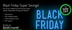 Bluehost #BlackFriday sale is live. Get up to 60% off on shared hosting