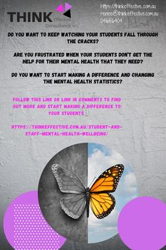 Do you want to stop watching your students fall through the cracks? Do you want to start making a difference and changing the mental health statistics? Do you want to create a culture of wellbeing in your school rather than just implement a programme? Do you want to adopt a process that is done effectively and sustainably and gets MAXIMUM buy-in from staff, students and parents? Follow the link below to find our more about improving student mental health. Mental Health Statistics, Mental Health And Wellbeing, Keep Watching, The Help, How To Find Out, Student