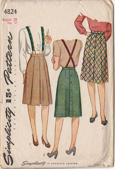 Vintage 1940s Simplicity Sewing Pattern 4824 Womens Skirt with Box Pleats Waist 28