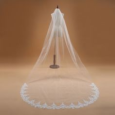 New 1T Cathedral White/Ivory Elegant Lace Edge Long Wedding Veil Accessories