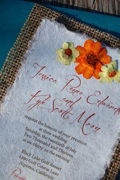 Do It Yourself  DIY Rustic Burlap Yellow and Orange Zinnias Wedding Invitations by Alecia