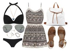"""Bronze."" by cece-cherry ❤ liked on Polyvore featuring Forever 21, Charlotte Russe, Billabong, Ray-Ban, Miss Selfridge, Parisian, JETS, beach, billabong and Bronze"