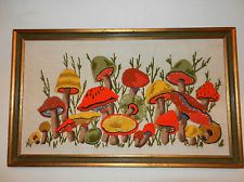 RETRO VINTAGE 1970s LARGE COLORFUL MUSHROOM PICTURE WALL HANGING