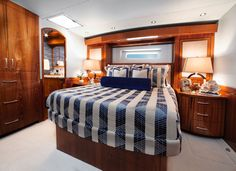 Hatteras GT The master stateroom features a king-sized berth. To the right is the cedar closet, an armoire is to the left, next to the entrance to the head. Yacht Design, Boat Design, Hatteras Yachts, Cedar Closet, Float Your Boat, Yacht Interior, Motor Yacht, Sport Fishing, Convertible