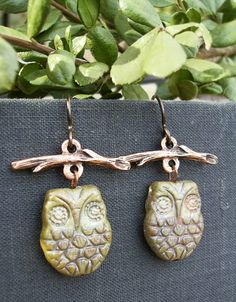 Owl Earrings Whimisical Owl in a Tree Picasso by BonArtsStudio