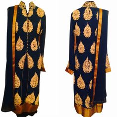 MS-22 Navy Blue Gold embroidered kurta set