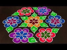 Happy New Year: 21 to 11 Beautiful Rangoli Kolam Design for New Year This tutorial will show you how to draw Beautiful Indian traditional art Rangoli . Best Rangoli Design, Indian Rangoli Designs, Simple Rangoli Designs Images, Rangoli Designs Latest, Rangoli Designs Flower, Rangoli Border Designs, Small Rangoli Design, Rangoli Designs With Dots, Flower Rangoli