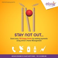 Your smartness, time and effort get cleaned bowled every time you queue to pay your utility bills manually. Get smart & Appy with elivio's #HomeManagement.  Score #100HappyPoints every time you pay #bills worth Rs.200 for #phone, #electricity, #Gas, #DTH, #Data Card. Score more to win the #elivio #happypoints #contest