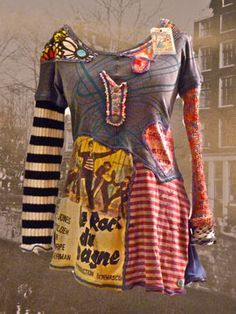 hippie refashion, DIY old t-shirts into a patchwork dress or tunic! Kleidung Design, Diy Kleidung, Diy Clothing, Sewing Clothes, Recycled Clothing, Refashioned Clothing, Refashioned Tshirt, Upcycling Clothing, Mode Hippie