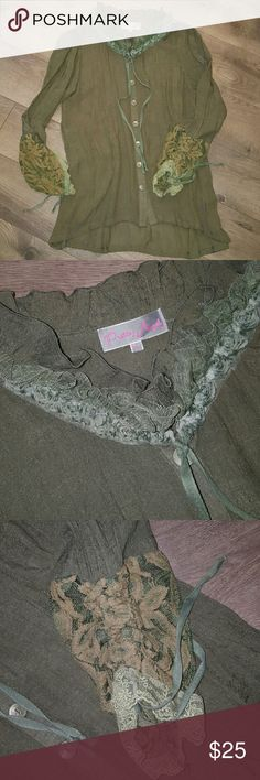 LONG SLEEVE LACE EDGE TOP Olive Green button up top. With cute ruffle collar, tied or untied,  your choice. Sleeves are lace trimmed with cute tie gathering accent. Slight high low hem so looks cute with leggings! pretty Angel  Tops