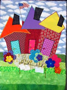 The House Quilt Project: Beach Cities Quilters Guild House Quilt Block, House Quilt Patterns, Quilt Blocks, Small Quilts, Mini Quilts, Scrappy Quilts, Quilting Projects, Quilting Designs, Elephant Quilt