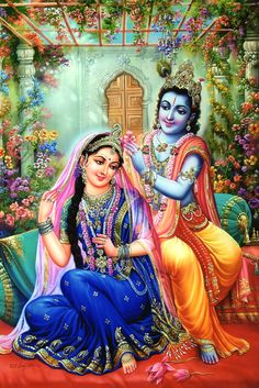 """A flower for you ,"" Krishna said as he put the flower in Radha's hair. ""Thank you Krishna!"" she replied as she flushed with pride at being so cherished. ""You're welcome my darling,"" he replied and kissed her cheek. Krishna Lila, Jai Shree Krishna, Lord Krishna Images, Radha Krishna Pictures, Radha Krishna Photo, Krishna Radha, Krishna Statue, Radha Rani, Hanuman"
