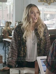 Maddie's silver drawstring top and mixed print bomber jacket on Nashville. Outfit Details: https://wornontv.net/64275/ #Nashville