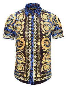 X-Future Men Turn Down Collar Summer Stripe Trendy Regular Fit Floral Printed Button Down Dress Shirts
