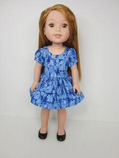 14.5 inch doll clothes-  Blue tree  print short sleeve dress with double skirt   by JazzyDollDuds.