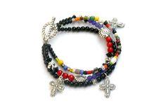 PYKNIC2 cross beaded bracelet set cross jewelry boho by PYKNIC2 ☮ & ❥ LOVE www.pyknic2.etsy.com