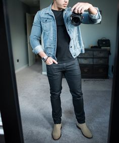 Denim jacket black jeans and the #vianello chelsea boot by @aldo_shoes   #mirrorselfie of the day  [ http://ift.tt/1f8LY65 ]