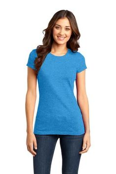 District - Juniors Very Important Tee Style DT6001 #tee #tshirt #top #juniors #crew #heathered #bright #turquoise