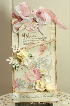 Shabby Floral Tag...with flowers & ribbon...Anne's paper fun.