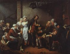 "JEAN-BAPTISTE GREUZE: The Village Betrothal, 1761, oil on canvas. 3' X 3'10 1/2"", Louvre, Paris. The most important French painter of the mid 18th century, his subjects are peasants, the working class, and the lower bourgeoisie."