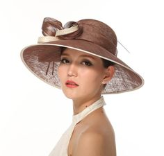 d8026937c28 Church Kentucky Derby Carriage Tea Party Wedding Wide Brim Woman s Royal  Ascot Hat in Solid Sinamay Hat Taupe with Ivory